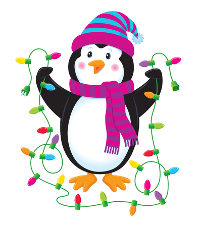 'yule tide': Penguin Holding Christmas Lights