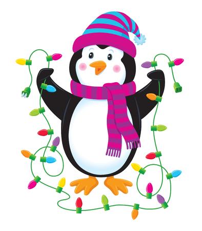 Penguin Holding Christmas Lights