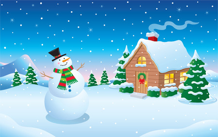 snow trees: Snowman and Cabin Snow Scene Illustration