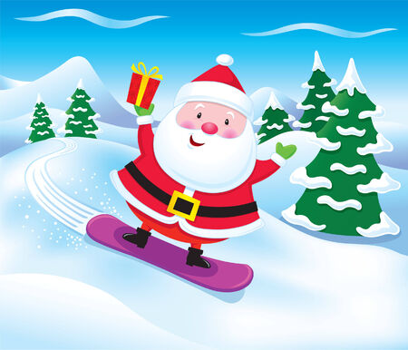 st  nick: Santa Snowboarding with Present Illustration