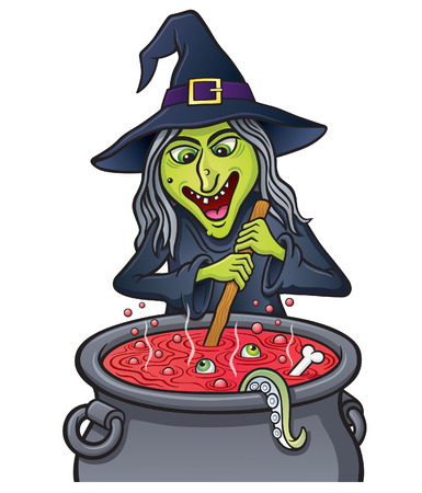 Wicked Witch Stirring A Bubbling Cauldron
