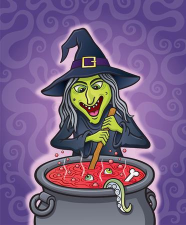Witch Stirring A Bubbling Cauldron