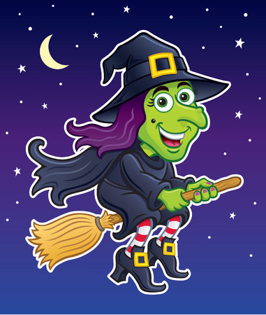 Witch Riding Her Broom at Night Illustration