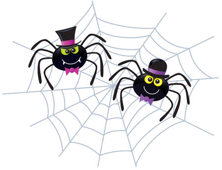 Two Spiders Wearing Hats and Bow Ties