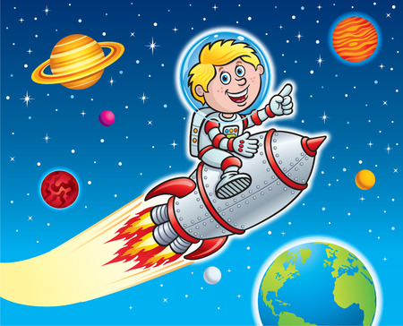 Kid Riding Retro Rocket Through Space