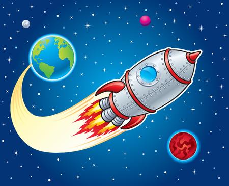 지구에서 우주로 발사하는 로켓 우주선