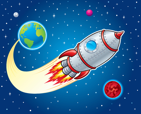 Rocket Ship Blasting from Earth to Outer Space Illustration