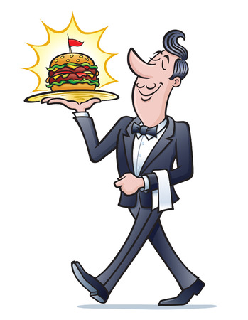 Waiter Carrying Cheeseburger On Tray