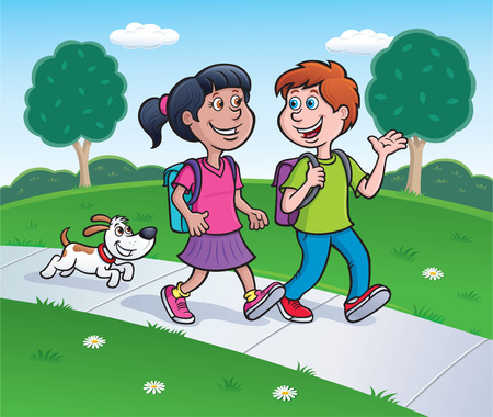 dog school: Girl, Boy and Dog Walking On Sidewalk Illustration