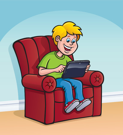 using tablet: Kid Sittin and Using Digital Tablet