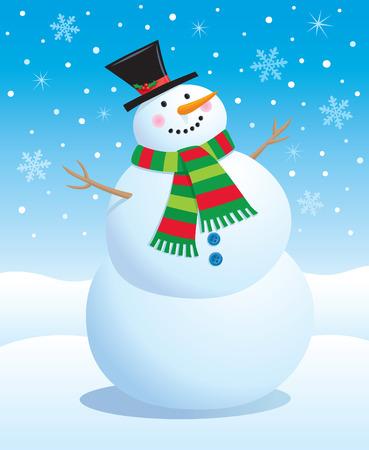 スカーフと帽子笑顔雪だるま  イラスト・ベクター素材