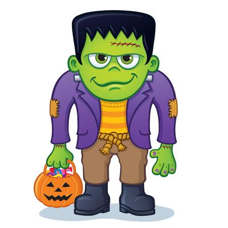 kooky: Frankenstein Monster Holding Pumpkin Pail Illustration