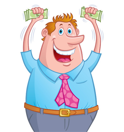 Excited Man Holding Up Money In His Hands