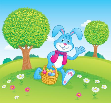 Easter Bunny Carrying Easter Basket Scene Illustration