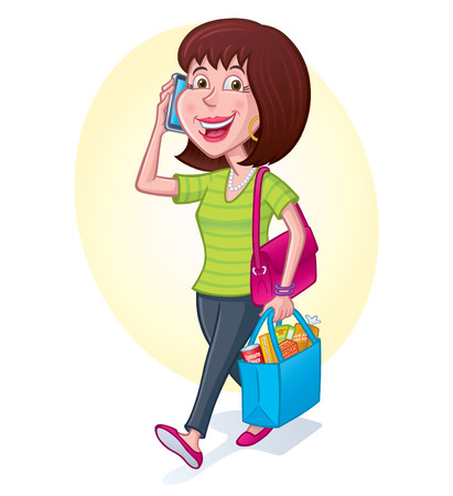 woman cellphone: Woman Carrying Reusable Shopping Bag Illustration