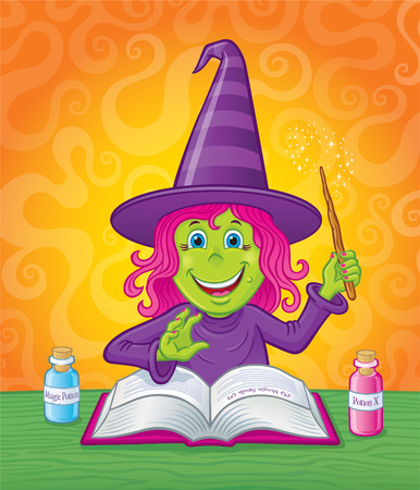 spell: Cute Girl Witch Casting A Magic Spell