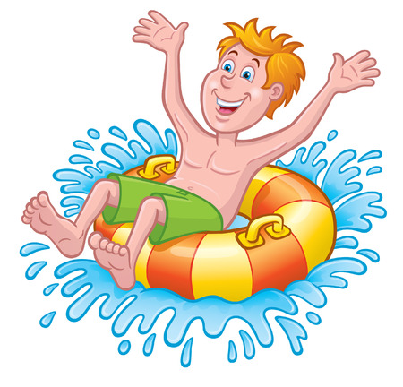 Boy In Inner Tube Splashing in Water
