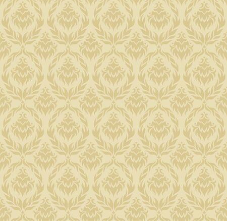 Ecru Damask Seamless Pattern