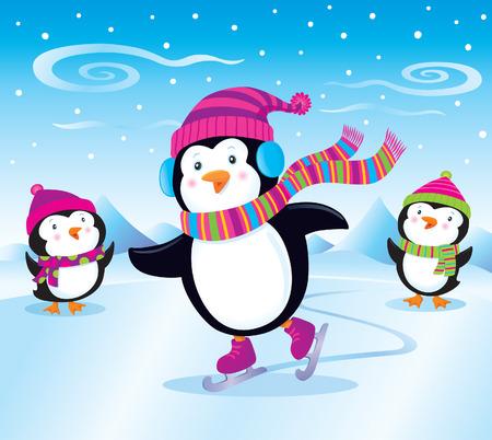Penguin Ice Skates While Baby Penguins Watch Ilustração