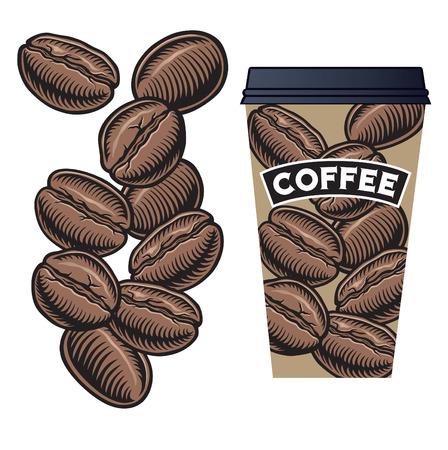 chicchi di caff�: Chicchi di caff� e tazza di caff� con coperchio Vettoriali