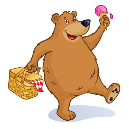 Bear with Picnic Basket and Ice Cream Cone