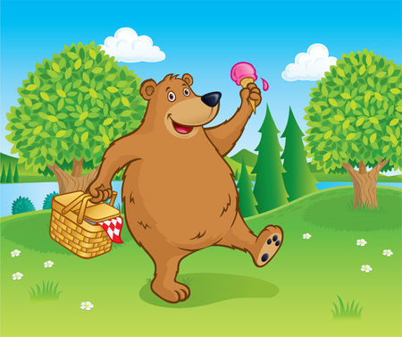 Bear Walking with Picnic Basket Near A Lake