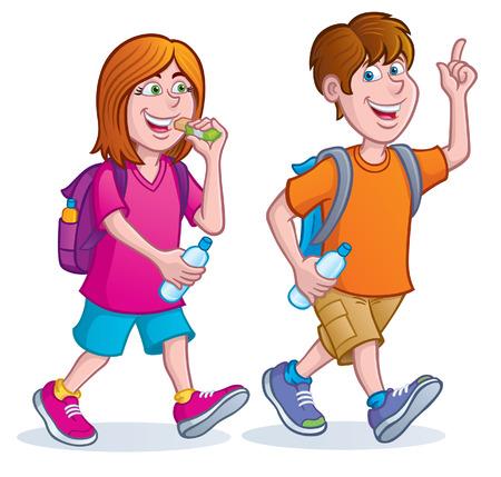 Teens Taking A Hike Illustration