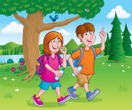 hiking: Teens Hiking By A Lake with Backpacks