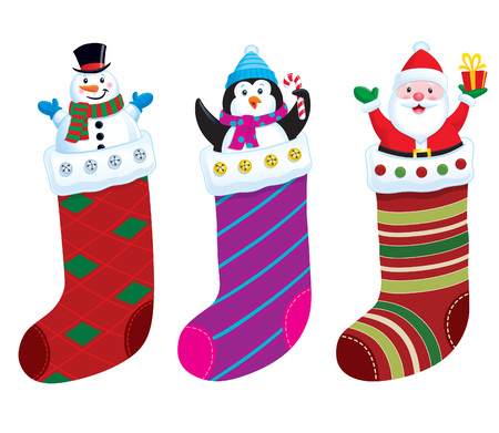 Holiday Christmas Stocking Characters Stock Vector - 39558165