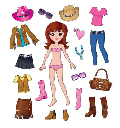 western clothing: Western Fashion Dress Up Girl Illustration