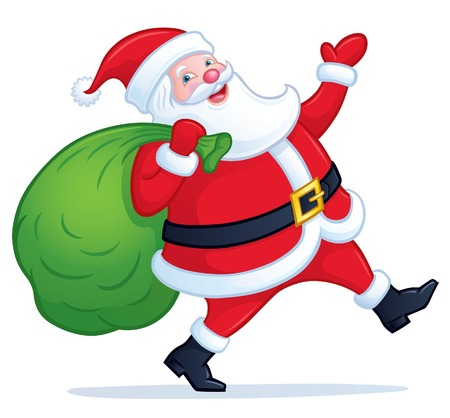 stepping: Santa Claus Walking with Bag of Presents Illustration