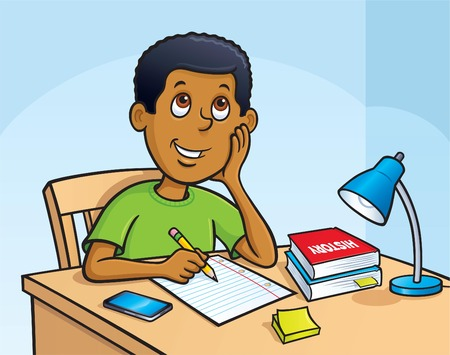 Kid Working On A Homework Assignment