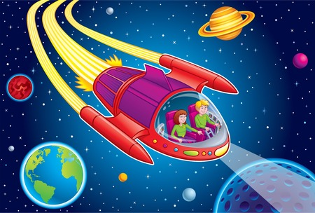 Teens Blasting Through Outer Space Illustration