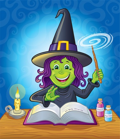 Cute Girl Witch Casting A Spell Illustration
