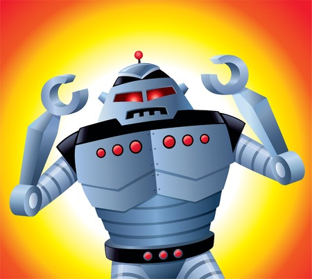 Mad Robot with Its Arms Up Illustration