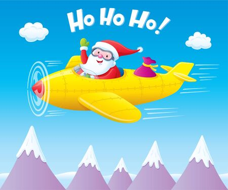 snowcapped mountain: Santa Claus Flying An Airplane with Presents