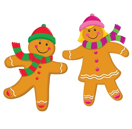 Gingerbread Kids with Knit Caps and Scarves Vectores