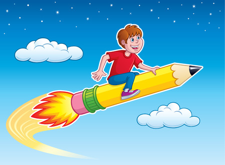 blasting: Boy Riding On Top Of A Rocket Pencil Illustration