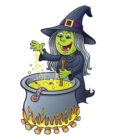 Witch Stirring Bubbling Cauldron