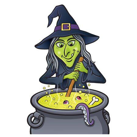 witch: Sonriendo bruja que revuelve la caldera que burbujea