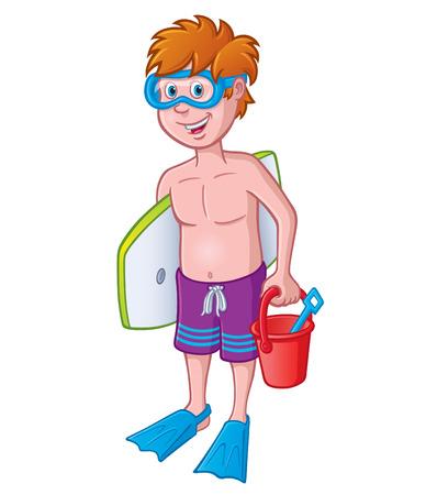 swim goggles: Kid Ready for the Beach