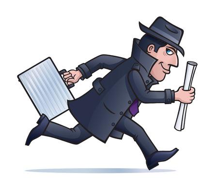 Spy Hardlopen met Plannen en Briefcase Stock Illustratie