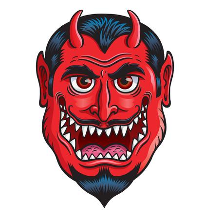 Devil Monster Face Illustration