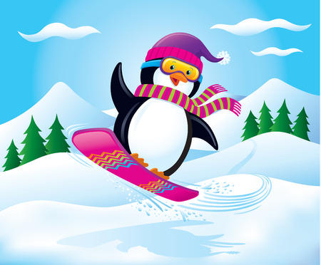 Snowboarding Penguin In The Air