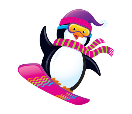 Cute Penguin Snowboarding