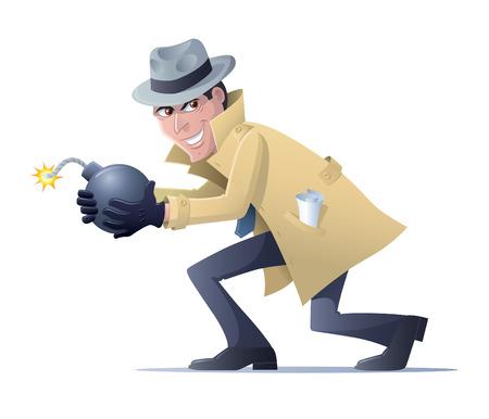 Spy About To Set Off A Bomb 版權商用圖片 - 45260727