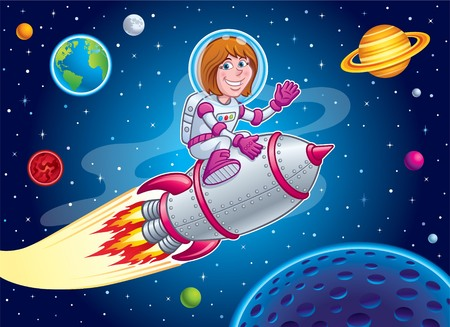 Space Girl Riding On Top Of A Rocket Ship