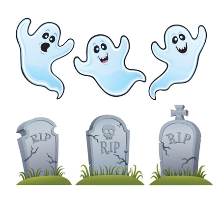 Ghosts and Tombstones Illustration
