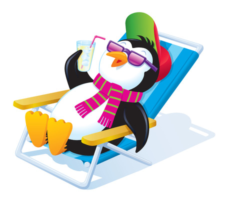 Penguin Relaxing In The Sun With An Iced Drink