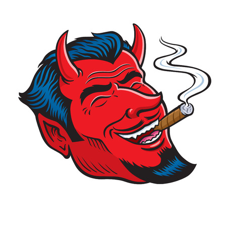 smoking a cigar: Laughing Devil Face Smoking Cigar Illustration